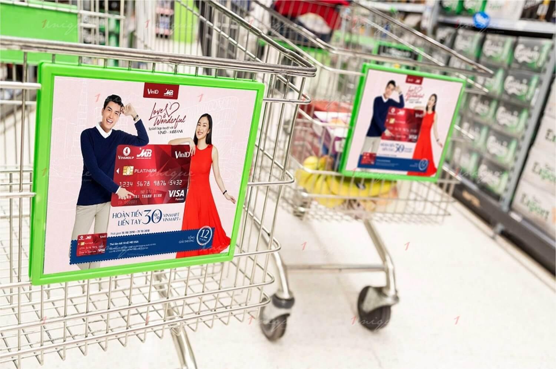 quảng cáo trên xe đẩy siêu thị